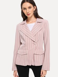 Flap Pocket Detail Striped Blazer