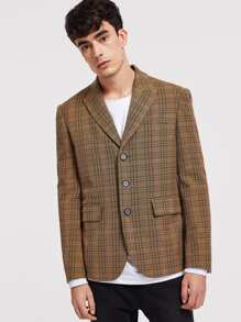 Men Single Breasted Plaid Print Blazer