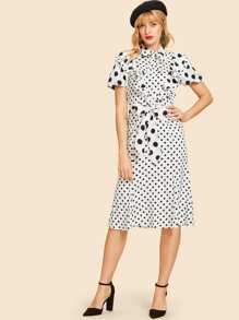 Ruffle Trim Belted Polka Dot Dress