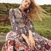 Allover Flower Print Ruffle Hem Semi Sheer Dress