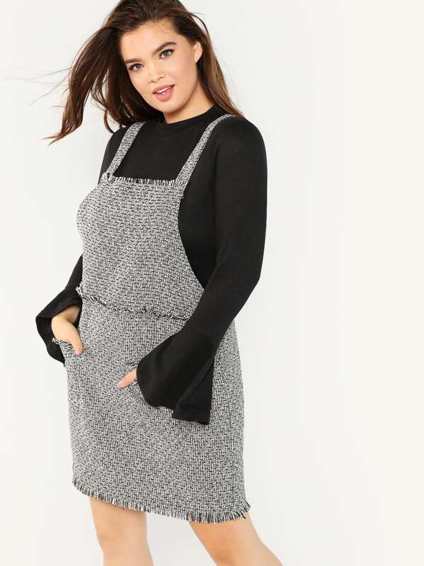 Plus Frayed Trim Tweed Pinafore Dress | SHEIN