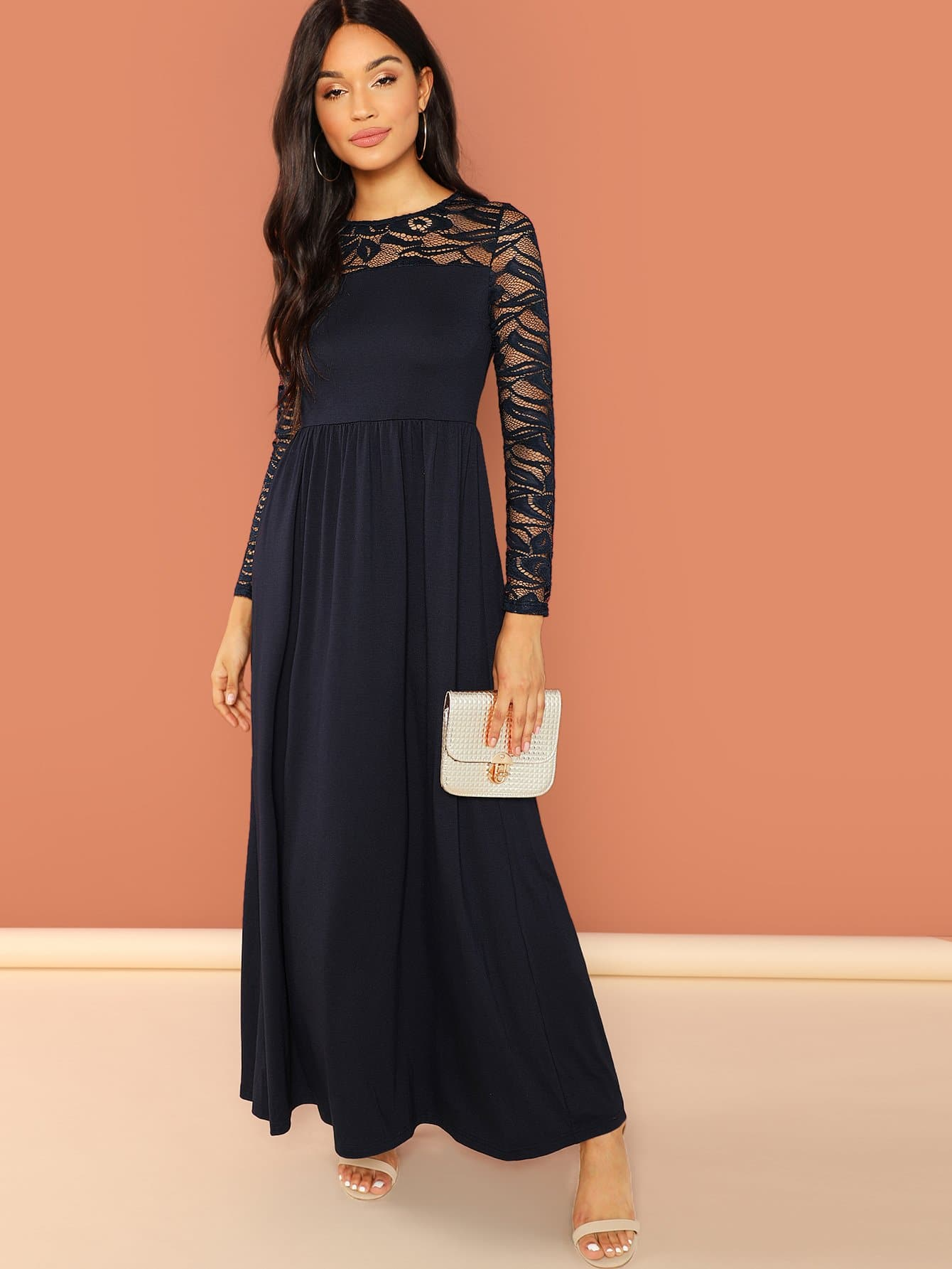 7272cadf07cd Lace Contrast Raglan Sleeve Dress -SheIn(Sheinside)