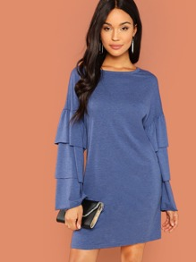Layered Sleeve Ruffle Tunic Dress