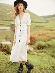 Plunging Neck Contrast Stitch Button Up Dress