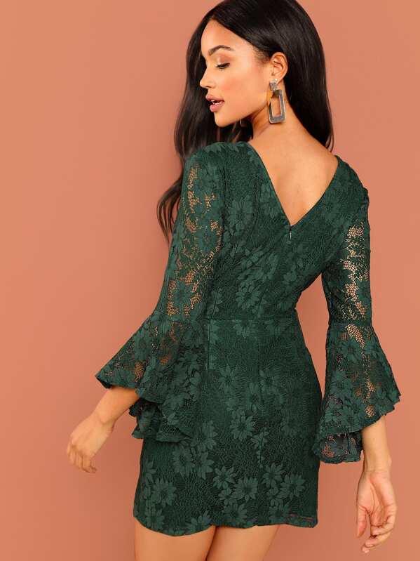 7804cf1b6e Flounce Sleeve Guipure Lace V Back Dress   SHEIN IN