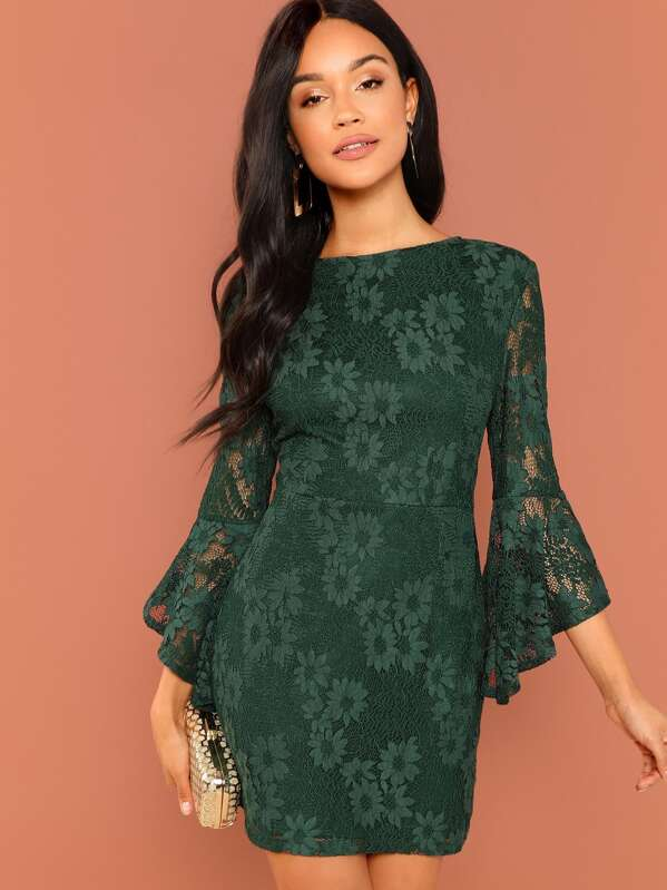 4d6f43e021 Flounce Sleeve Guipure Lace V Back Dress | SHEIN IN