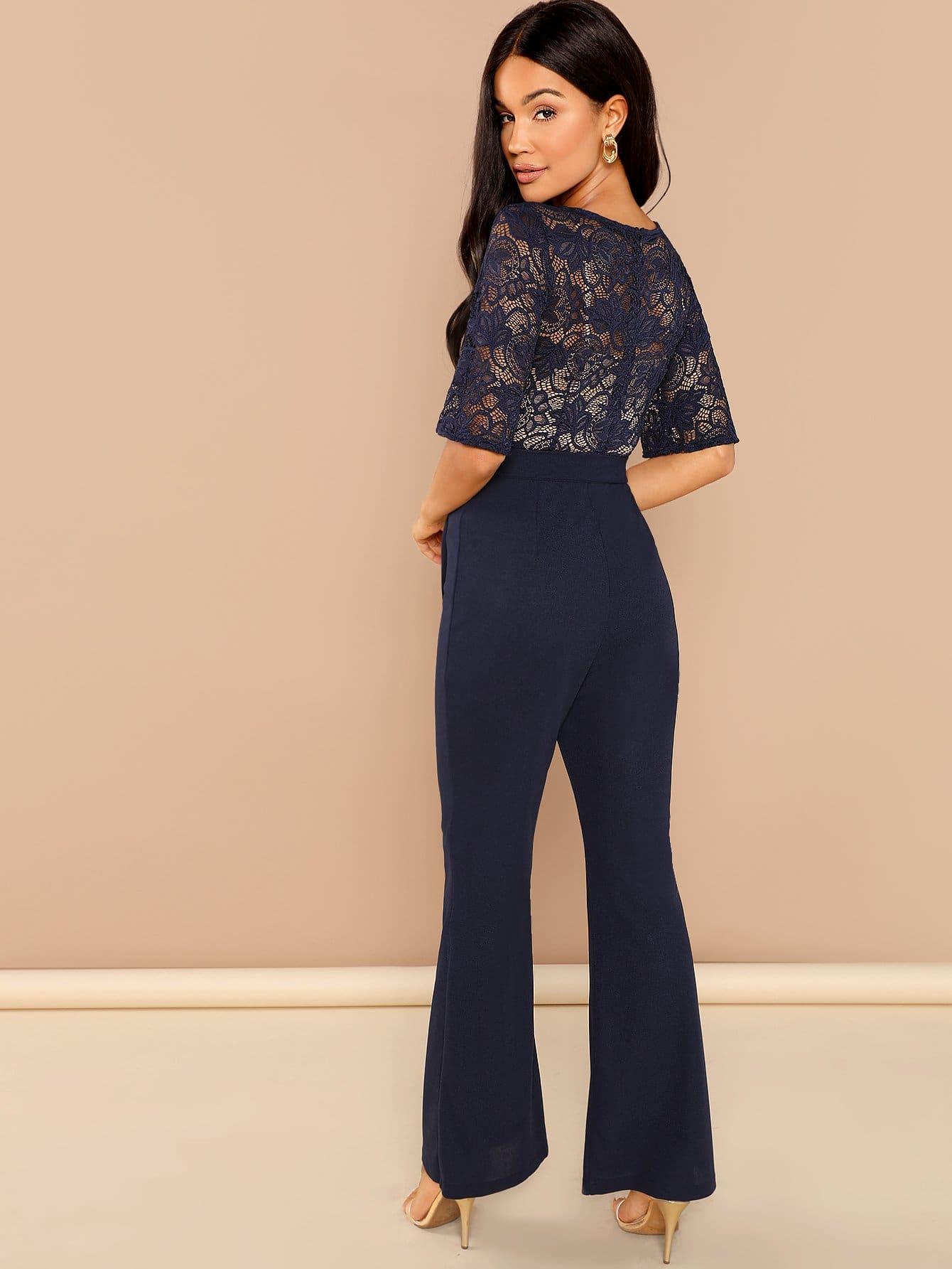 589848064e8 Cheap Lace Contrast Waist Belted Wide Leg Jumpsuit for sale Australia