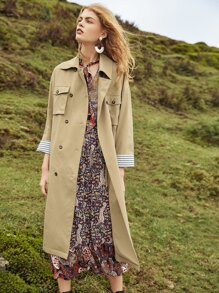 Drop Shoulder Self Belted Trench Coat