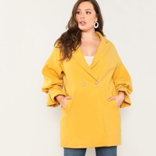 Plus Pearl Beading Bell Sleeve Coat