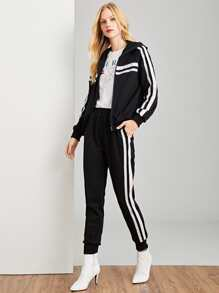 Zip Up Hoodie Tape Insert Top & Pants Set