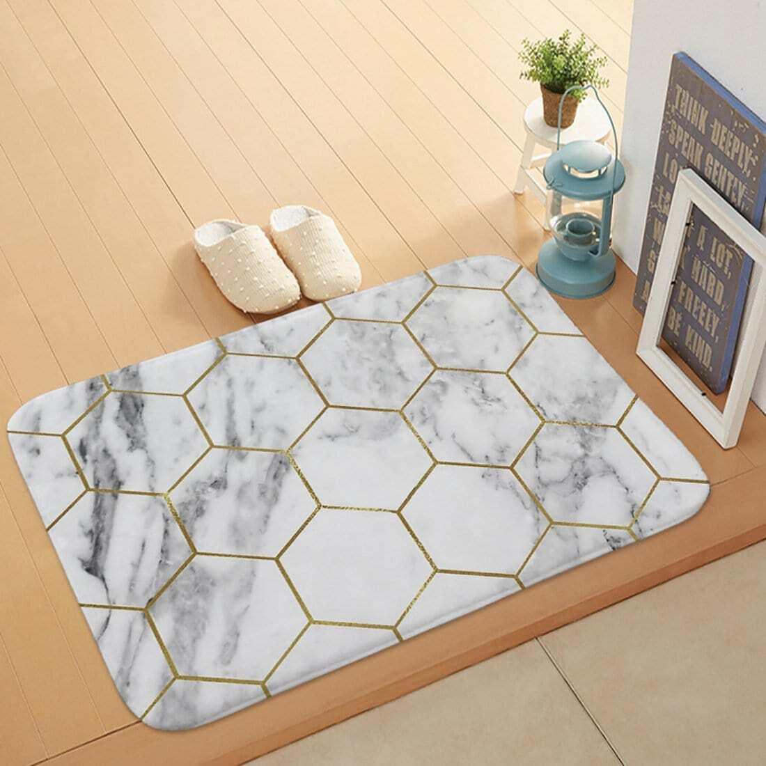 Hexagon & Marmor Muster Fußmatte