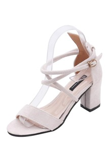 Cross Strap Chunky Heeled Sandals