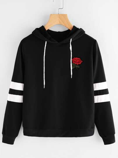 Rose Patch Stripe Sleeve Hoodie