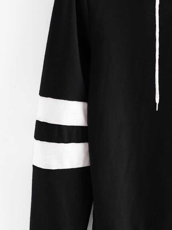 595f0cf2dbd61 Rose Patch Stripe Sleeve Hoodie   SHEIN