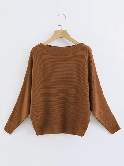 Batwing Sleeve Ribbed Knit Sweater