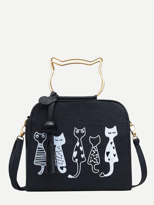 1bea7f0458 Cartoon Print PU Shoulder Bag With Cat Ear Handle | SHEIN