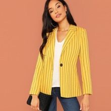 Single Button Varsity Striped Blazer