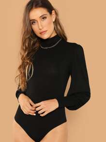 Mock Neck Lantern Sleeve Solid Bodysuit