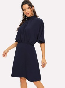 Gathered Mock Neck Flutter Sleeve Dress