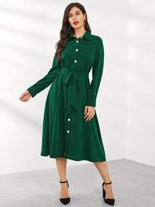 Button Up Belted Dress