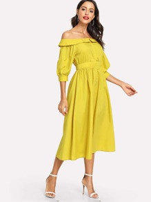Foldover Front Off Shoulder Button Front Dress