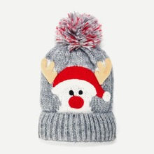 Christmas Kids Pom Pom Knit Beanie Hat