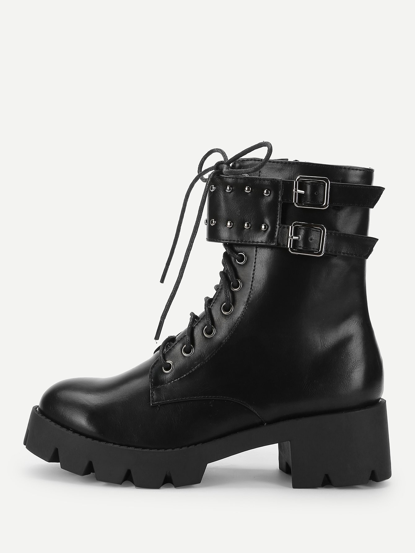 Ankle Buckle Lace-Up Boots