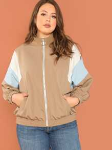 Plus Dolman Sleeve Color Block Jacket