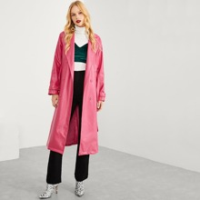 Neon Pink Belted Faux Leather Trench Coat