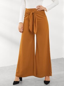Knot Front Wide Leg Pants