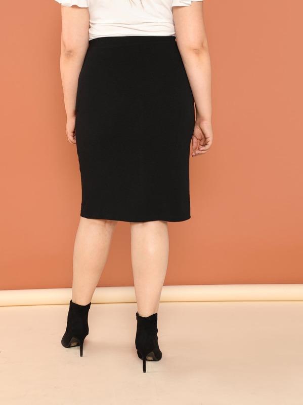 e51bb0fc832e Plus Button Front Pencil Skirt | SHEIN