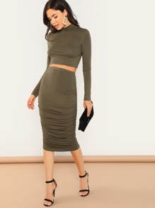 Form Fitted Crop Top and Bodycon Skirt Set