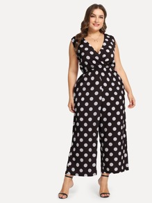Plus Self Belted Polka Dot Palazzo Jumpsuit