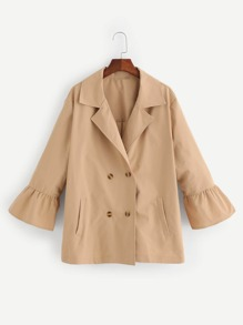 Plus Notch Collar Flounce Sleeve Coat