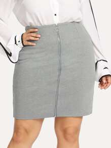 Plus O-Ring Zip Front Solid Skirt