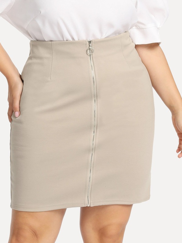 8ed025cbc5 Cheap Plus O-Ring Zip Front Solid Skirt for sale Australia | SHEIN