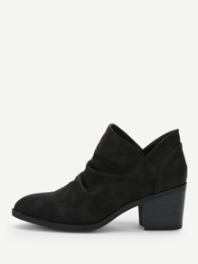 Plain Ruched Detail Western Ankle Boots