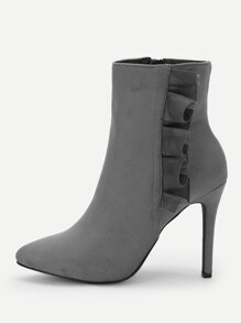 Ruffle Trim Zipper Side Stiletto Boots