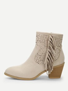 Tassel Detail Cut-Out Ankle Boots
