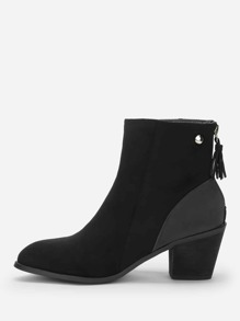 Tassel Detail Block Heeled Ankle Boots