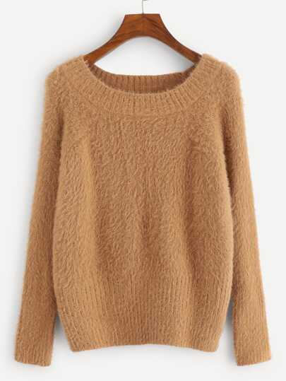 Plus Round Neck Solid Fuzzy Sweater