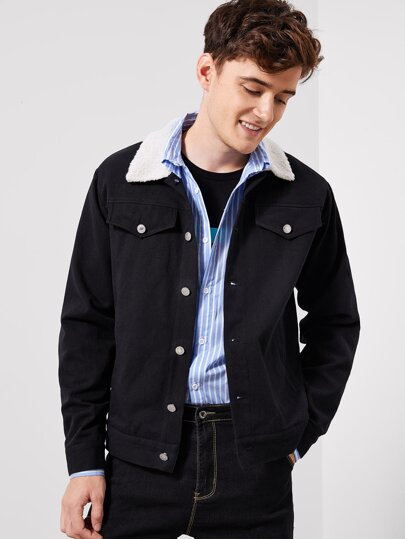 Guys Teddy Collar Buttoned Jacket