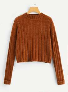 Rolled Up Sleeve Solid Ribbed Sweater