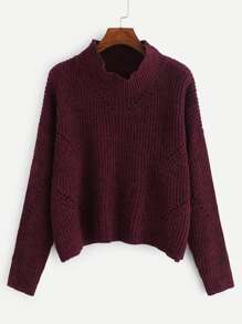 Drop Shoulder Eyelet Detail Jumper