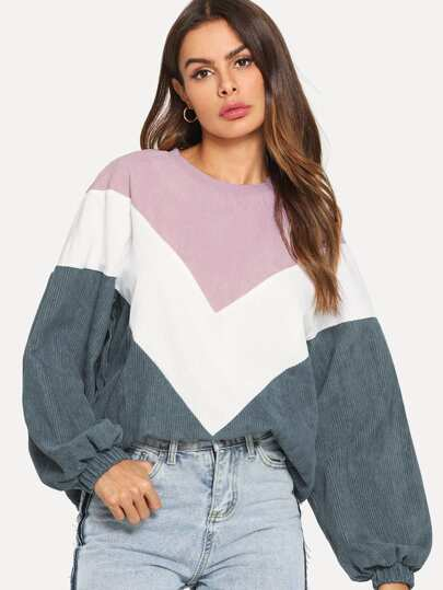 Cut and Sew Chevron Corduroy Sweatshirt