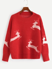 Plus Christmas Drop Shoulder Elk Sweater