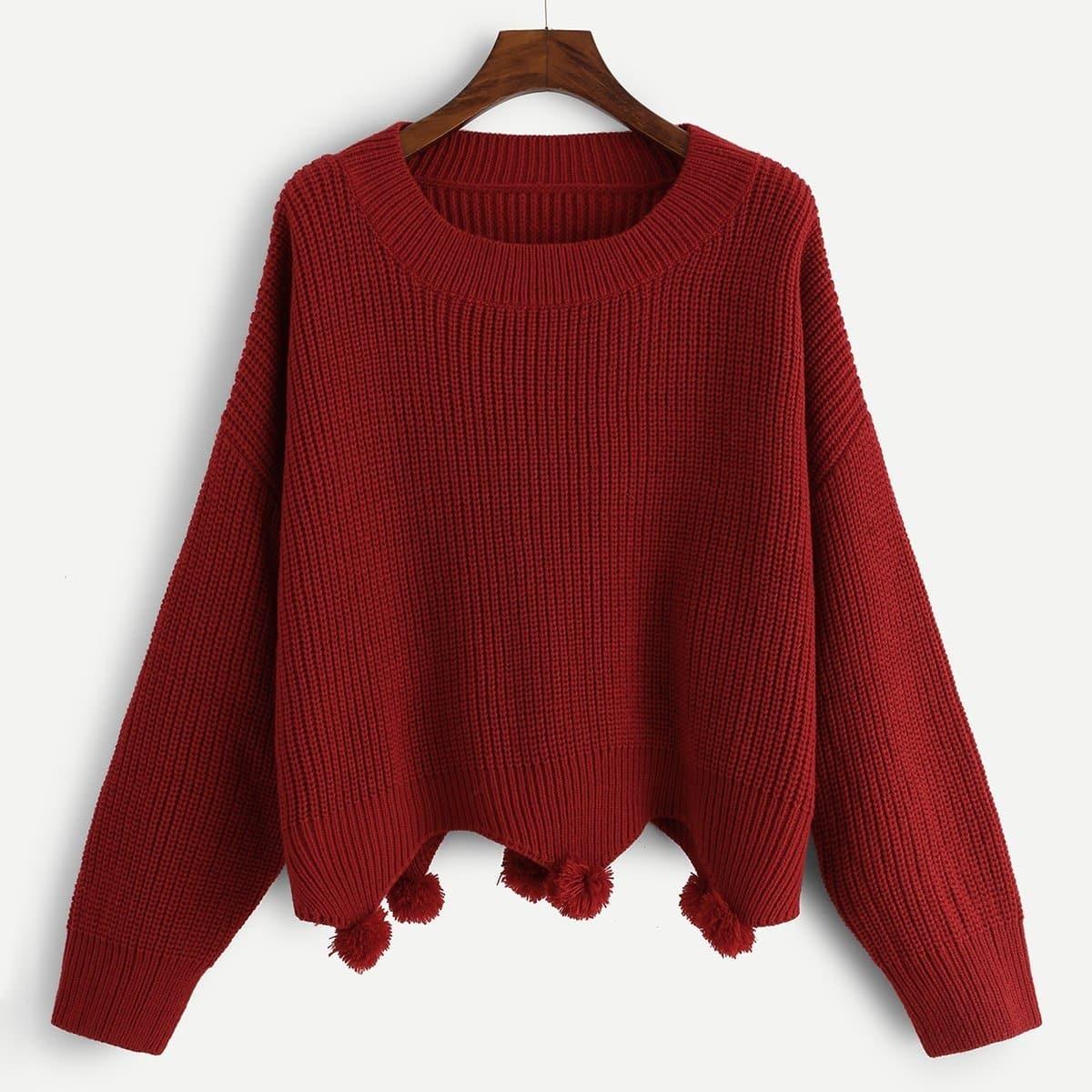 Plus Drop Shoulder Pompom Hem Sweater