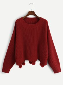 Plus Drop Shoulder Pompom Hem Sweater