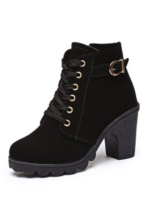 Lace Up Side Zip Boots