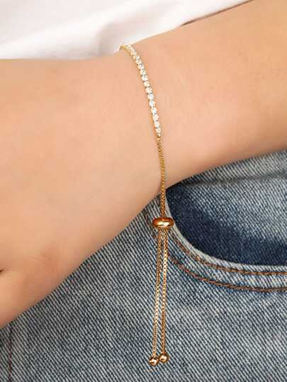 Rhinestone Detail Adjustable Bracelet 1pc